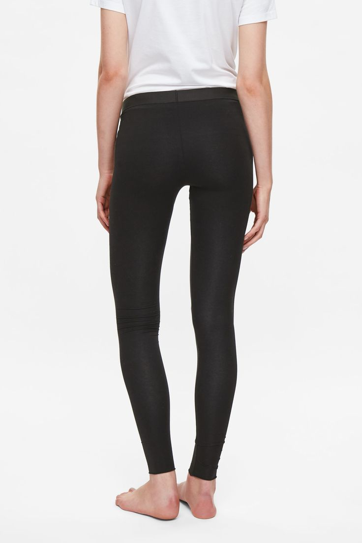 COS image 3 of Cotton jersey leggings in Black