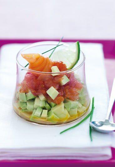 Verrines : recette de verrine, verrine avocat pamplemousse saumon fumé - Minceur: cuisine minceur - recette minceur et light