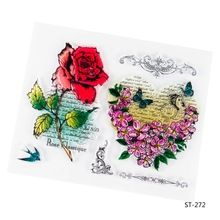 Rose and Heart Design Transparent Clear Silicone Stamp/seal for DIY Scrapbooking/photo Album Decorative Clear Stamp Sheets.(China (Mainland))