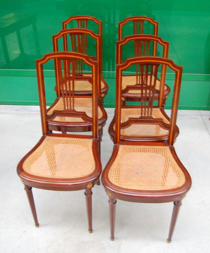 6 sedie in mogano/paglia Vienna con filetto intarsio in bois de rose stile Luigi XVI
