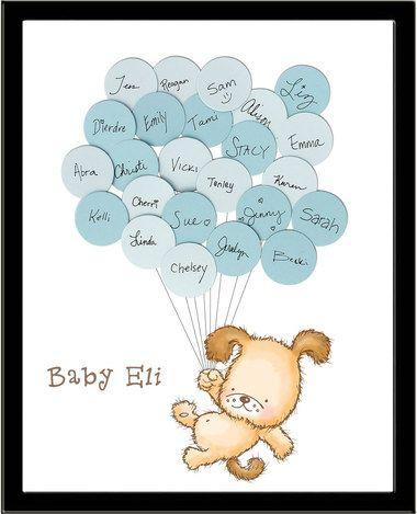 Unique Baby Shower Guest Book Print Puppy