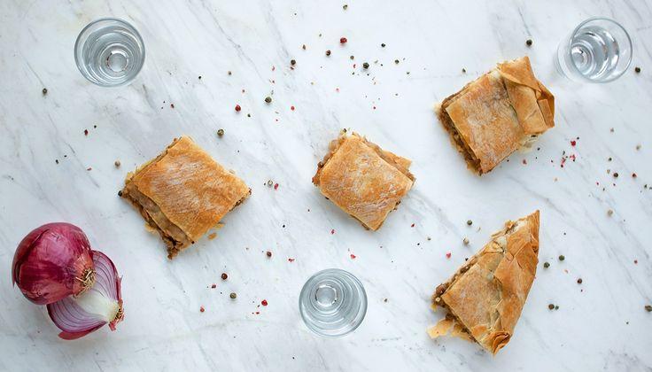 kimadopita @eatyourselfgreek Beef mince and onion pie @eatyourselfgreek