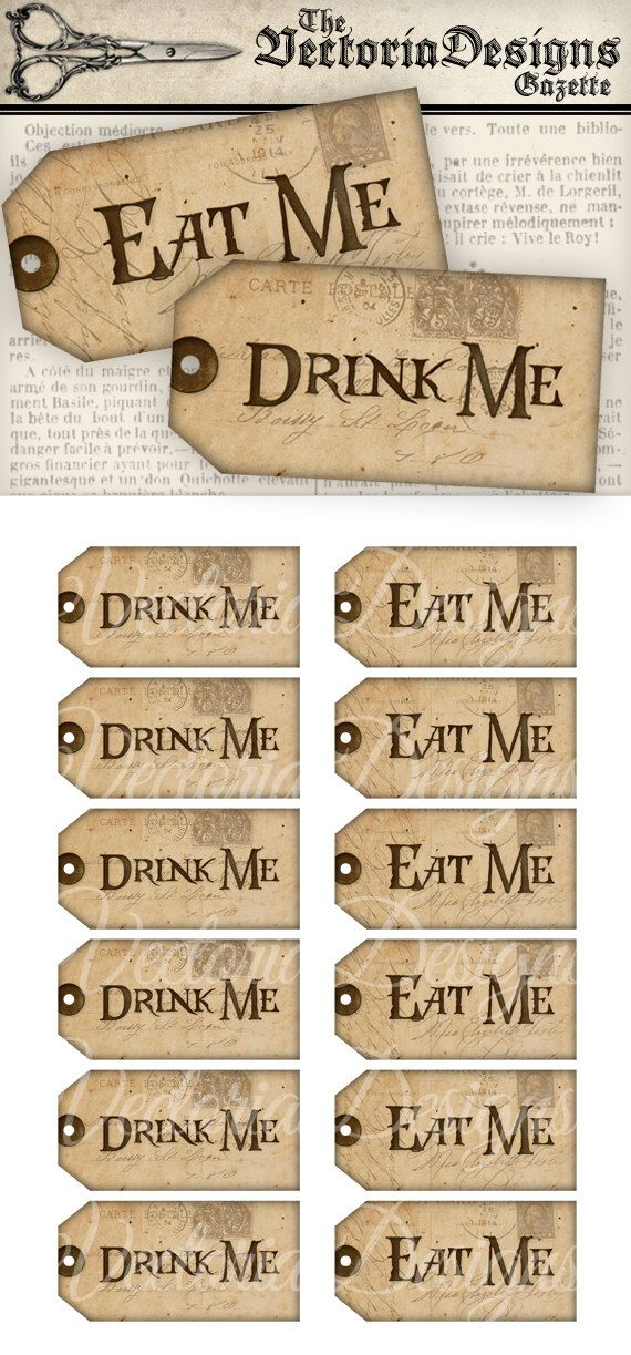 Printable Drink Me Eat Me Tags Alice in Wonderland Decor Party Favors paper crafting instant download digital collage sheet - VD0352