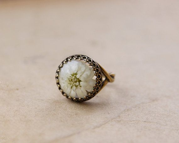 Real flower ring  handmade resin jewelry  brown by UralNature