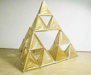 Sierpi ski tetrahedron fractal kite tissue paper straws for Tetrahedron kite template