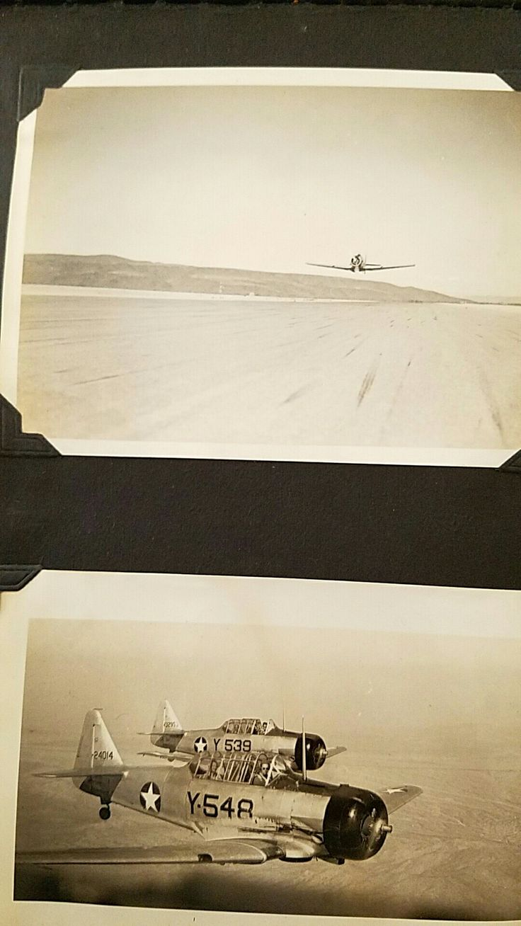 AT-6 Texans flying above Ajo Arizona 1944 -Lloyd G. Culbreth collection