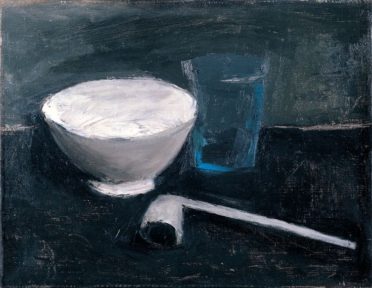 William Scott, Pipe and Bowl, 1952, Oil on canvas, 29.2 × 39.4 cm / 11½ × 15½ in, Private collection