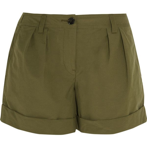 Burberry Brit Cotton-blend shorts ($280) ❤ liked on Polyvore featuring shorts, green, burberry shorts, relaxed shorts, green shorts, utility shorts and burberry