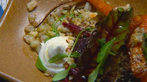 Heirloom root vegetables with barley and goat's cheese