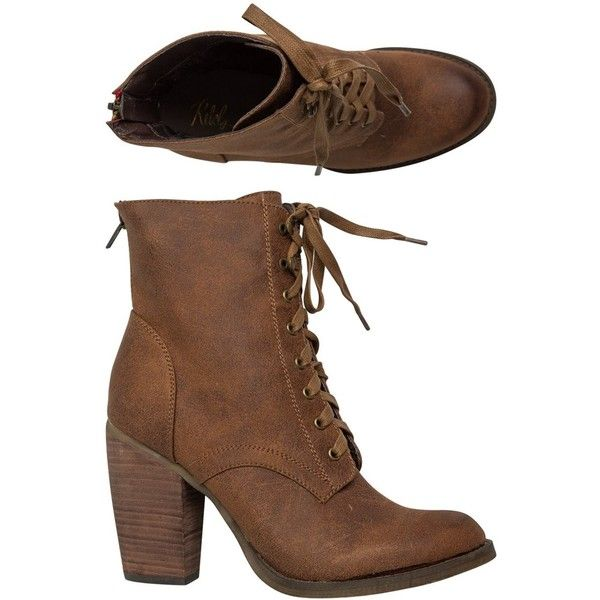 Rebels Fallon Lace Up Heeled Bootie (£48) ❤ liked on Polyvore featuring shoes, boots, ankle booties, ankle boots, heels, brown, high heel boots, high heel ankle boots, brown boots and heeled booties