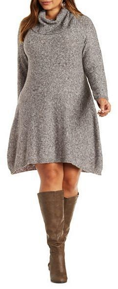 Plus Size Cowl Neck Sweater Dress