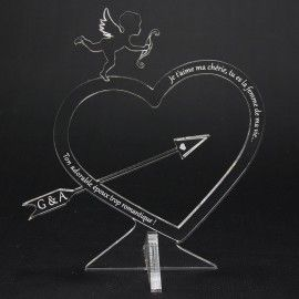 Cadeau trophée personnalisé coeur gravé Ange cupidon