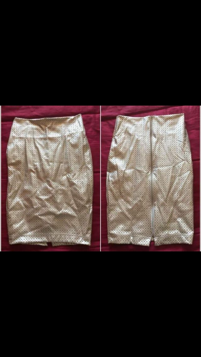 *L Gold Leatherette Cutout Zip Pencil Skirt by Black Milk Clothing UNRELEASED SAMPLE