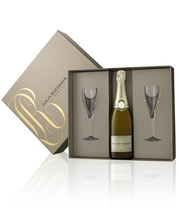 Champagne Louis Roederer Coffret Bouteille & 2 flûtes