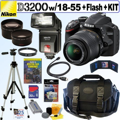 Nikon D3200 24.2 MP CMOS Digital SLR Camera (Black) with 18-55mm f/3.5-5.6 AF-S DX VR NIKKOR Zoom Lens + Automatic TTL Flash + Telephoto & Wde Ange Lenses + 32GB Deluxe Accessory Kit - Camera Blazer