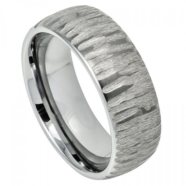 Men's Tungsten Wedding Band Ring Semi Domed Ring with Tree Bark Carved Textured Finish - 8mm