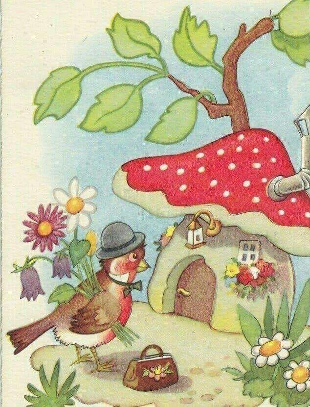 Джерих анжела, открытка с грибом