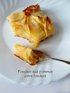 Fondant aux pommes extra fondant (presque un clafoutis). Pour la touche croustillante et caramélisée, ajouter sur le dessus à mi-cuisson: 50g de beurre fondu mélangé avec 1oeuf et 60g de sucre ou cassonade).