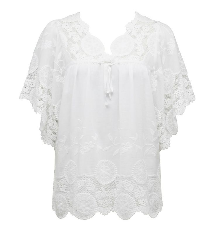 NICOLE EMBROIDERED BLOUSE - TRUE WHITE