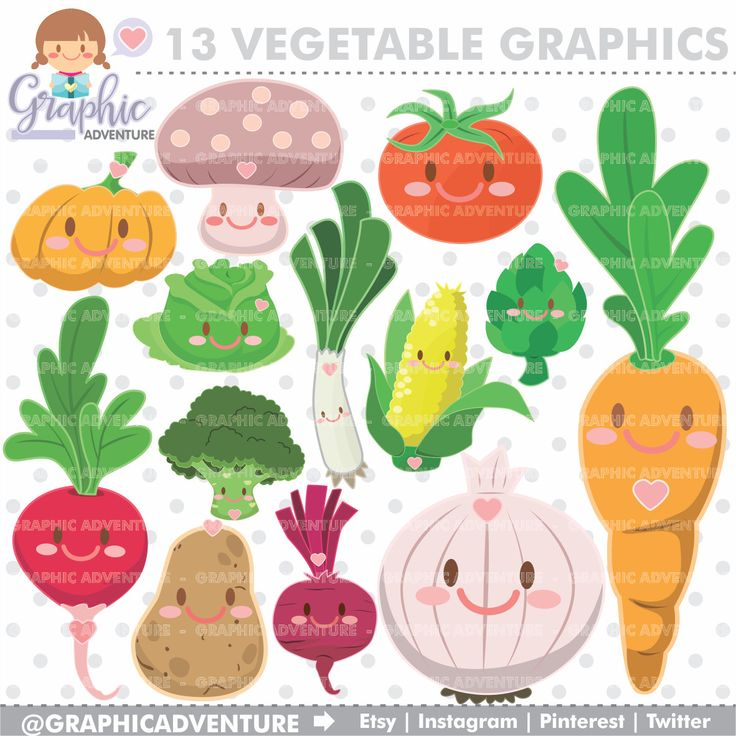 75%OFF - Vegetable Clipart, Vegetable Graphics, COMMERCIAL USE, Kawaii Clipart, Planner Accessories, Vegetables, Food Party, Vegetable Party