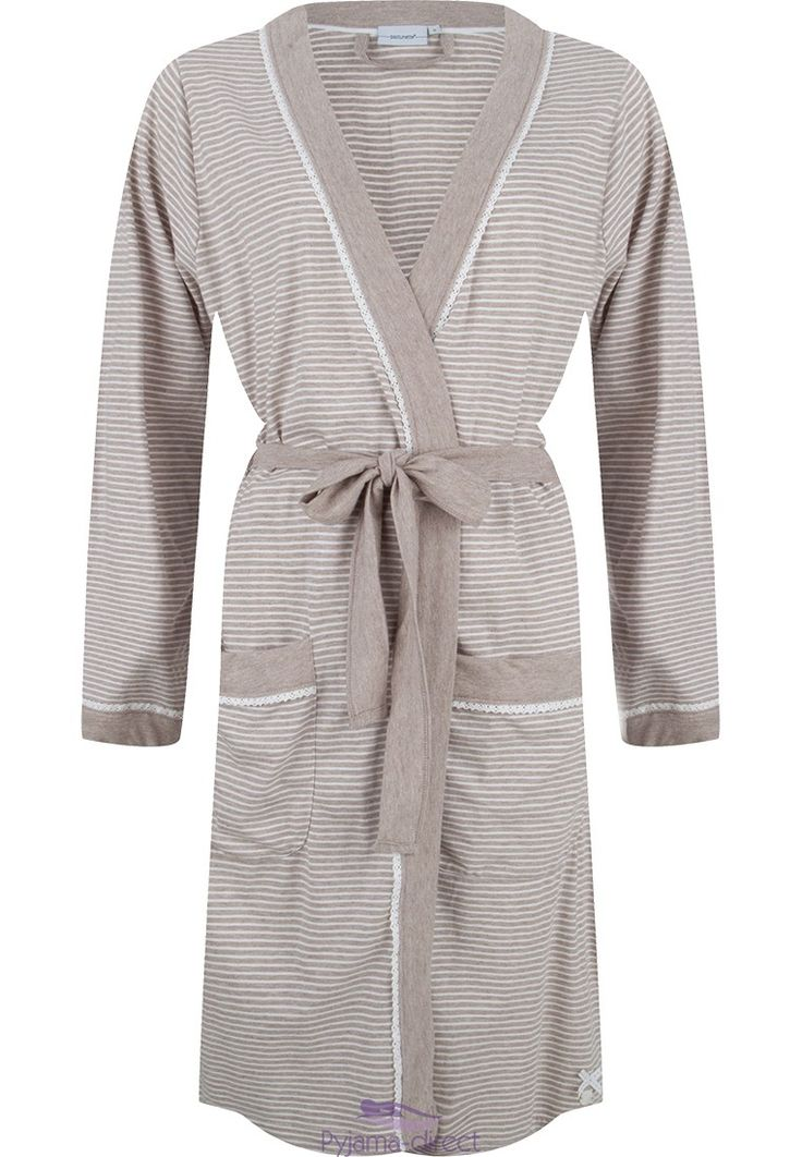 A comfortable & pretty, beige-white striped lightweight cotton kimono style morninggown