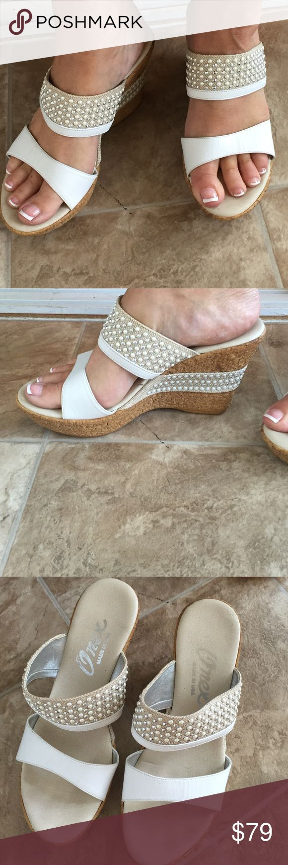Onex white wedges Great quality! Only worn twice Onex Shoes Wedges