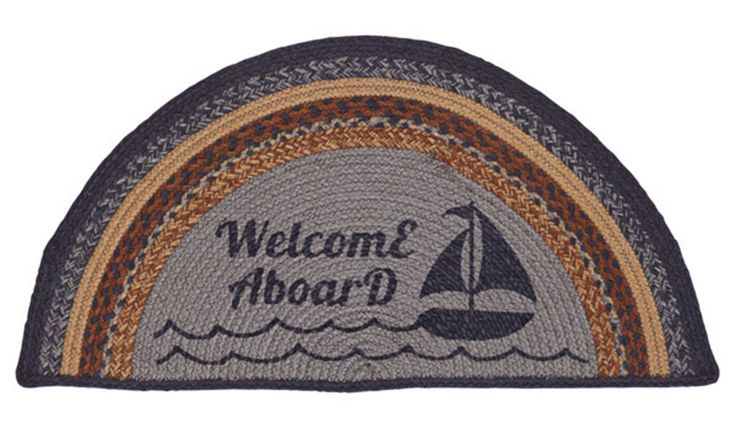 """Seapoint Welcome Aboard Stencil Jute Half Circle Rug 16.5"""" x 33"""""""
