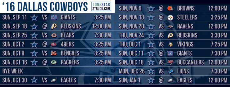2016 Dallas Cowboys Schedule Cover - Lone Star Struck