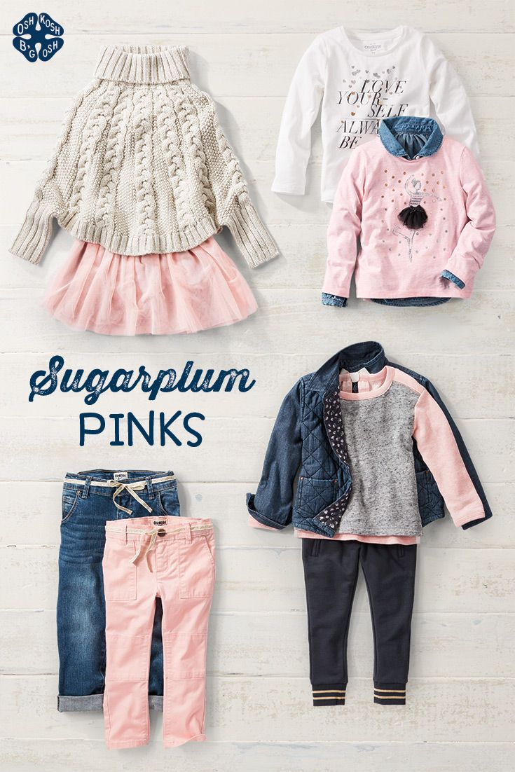 Paint the town pink this holiday season with OshKosh B'Gosh's variety of ballet inspired clothing. Find beautiful and cozy fleece, rose gold sweaters and soft-pastel tutus for endless twirls and fashion forward fun. Treat your tiny dancer this Christmas with sugarplum pinks at OshKosh B'Gosh today!