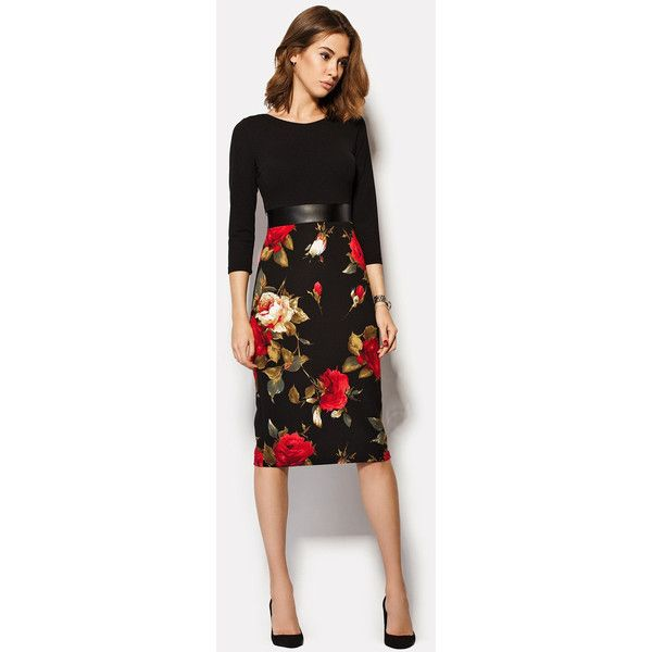 Smart Casual Dress With Roses Highwaisted Dress Floral Black Pencil... ($65) ❤ liked on Polyvore featuring dresses, grey, women's clothing, floral dress, floral pencil dress, floral circle skirt, gray dress and floral skater skirt