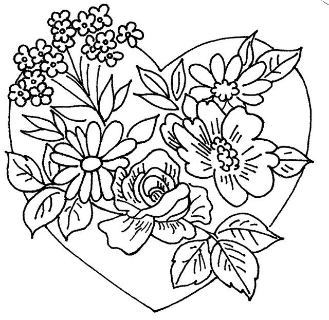 COLOUR IT, SEW IT, TRACE IT, ETC. heart and flowers 2 by love to sew, via Flickr