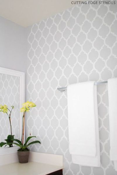 Cutting Edge Stencils- grey patterned wall paper