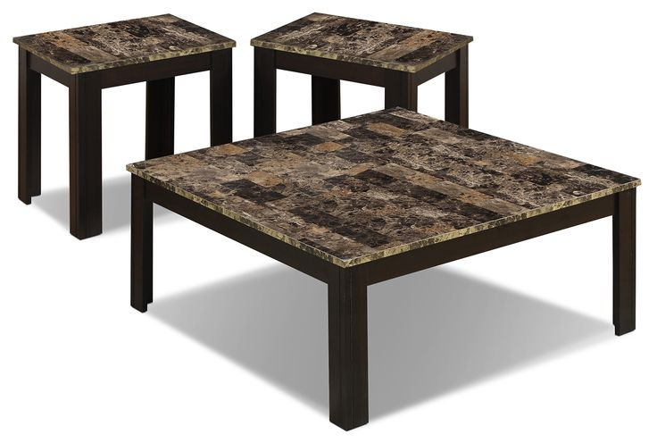 Accent and Occasional Furniture - Naples 3-Piece Coffee and Two End Tables Package