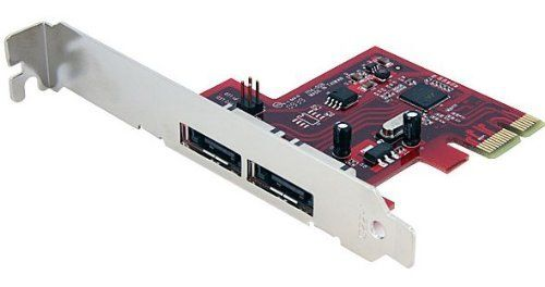 StarTech PEXESAT32 2 Port SATA 6 Gbps PCI Express eSATA Controller Card by StarTech. $32.24. The PEXESAT32 2 Port PCI Express 6Gbps eSATA Controller Card offers simple connectivity between a host computer and eSATA 3.0 devices - a cost-effective solution for connecting high-speed storage, such as High RPM Hard Drives and Solid State Drives (SSD), which in turn allows for easier data backups and archiving. With full support for SATA 3.0 hard drives and data transfer speeds of up ...
