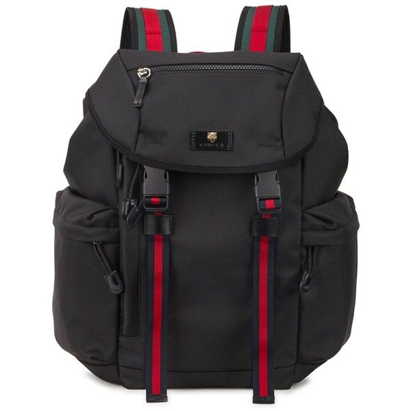 Gucci Black canvas backpack (1,355 CAD) ❤ liked on Polyvore featuring men's fashion, men's bags, men's backpacks, mens canvas backpack and gucci mens backpack