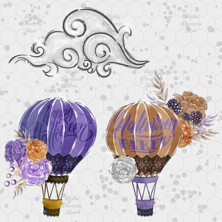 Whimsical Halloween Clipart witch Hot air balloon