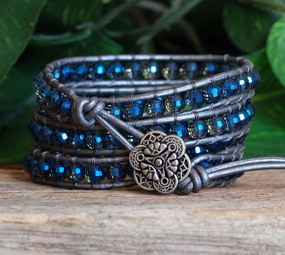 This four wrap bracelet dazzles...gorgeous, top quality, environmentally friendly and lead free, Mystic Blue Sparkle 6mm Czech Crystal Beads are wrapped in top quality Silver Leather and then finished with a beautiful antique silver Button Closure....fabulous on!! All my beaded bracelets are meticulously hand-stitched by me, one bead at a time, using strong specialty beading cord and top quality leather, gemstone, crystal, glass and pearl beads. SIZING This bracelet is made with 6mm beads…