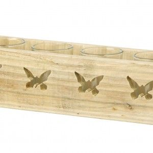 Butterfly Tea Light Holder – Parlane International : A natural coloured wooden tea light holder with laser cut butterfly pattern and 4 removable glass inserts. This gorgeous product could even be used as a planter or a container for a floral display. 30cm long x 7.5cm tall. Buy Online : http://www.thegardenrose.co.uk/buy-online/butterfly-tea-light-holder-by-parlane-international-2/