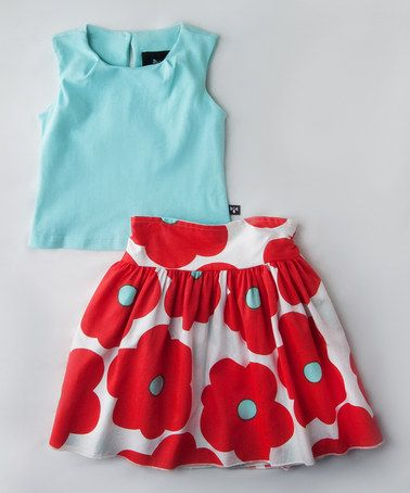 Loving this Aqua Tank & Reversible Wrap Skirt - Toddler & Girls on #zulily! #zulilyfinds
