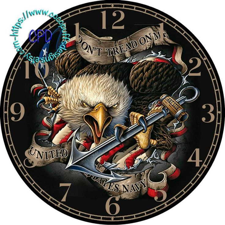 "US Navy Anchor & Eagle Art - -DIY Digital Collage - 12.5"" DIA for 12"" Clock Face Art - Crafts Projects by CocoPuffsDesigns on Etsy"