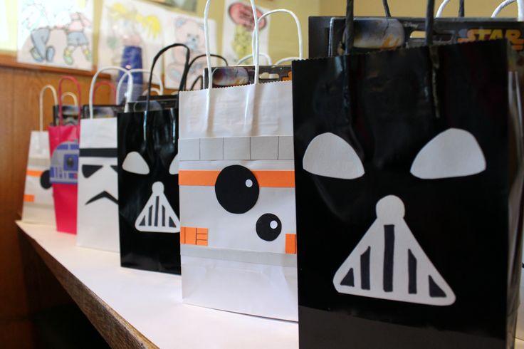 Homemade Star Wars (Darth Vader, BB-8, Stormtrooper, R2D2) favor bags