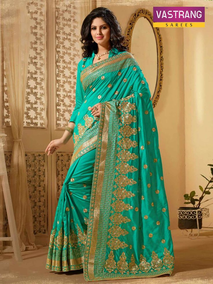 Sky Blue Pure Silk saree with embroidery work & Pure Silk blouse