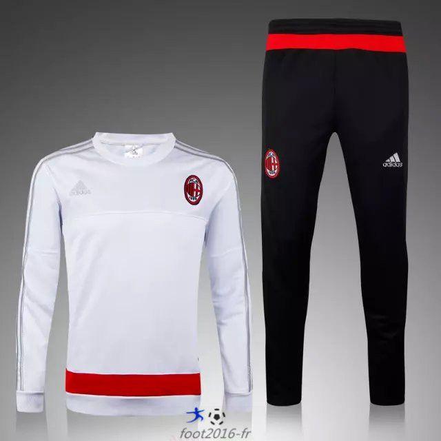 boutique Official Nouveau Survetement de foot Milan AC Blanc 2015 2016 pas chere