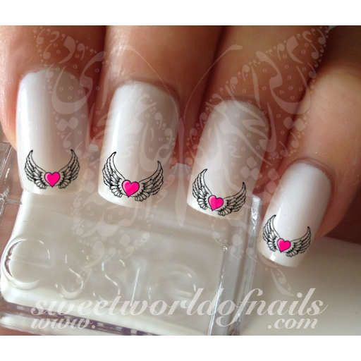 19 best angel wings nail art images on pinterest angel wings angel wings nail art pink heart nail water decals wraps prinsesfo Choice Image