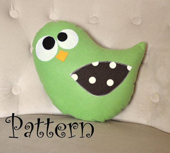 Bird Plush Pillow PDF - Tweeter the Bird Plush Pillow Tutorial Printable e pattern e book DIY