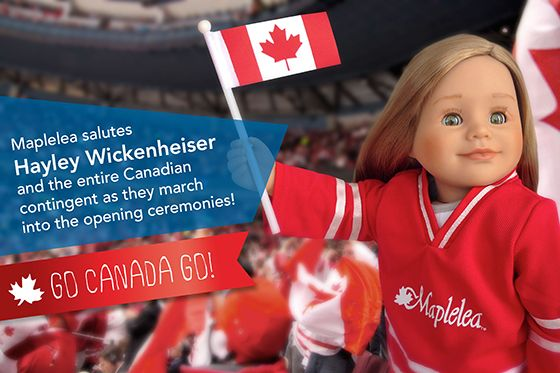 Let the games begin! Maplelea salutes Hayley Wickenheiser and the entire Canadian contingent as they march into the opening ceremonies! GO CANADA GO!