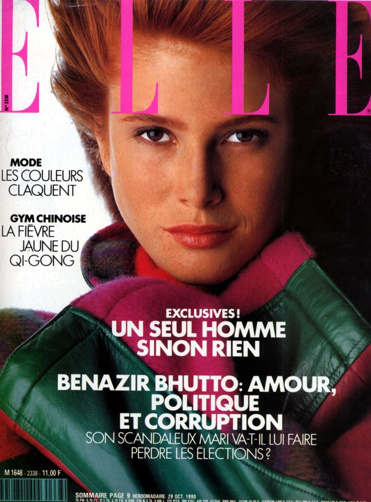 angie everhart, elle cover, october 1990