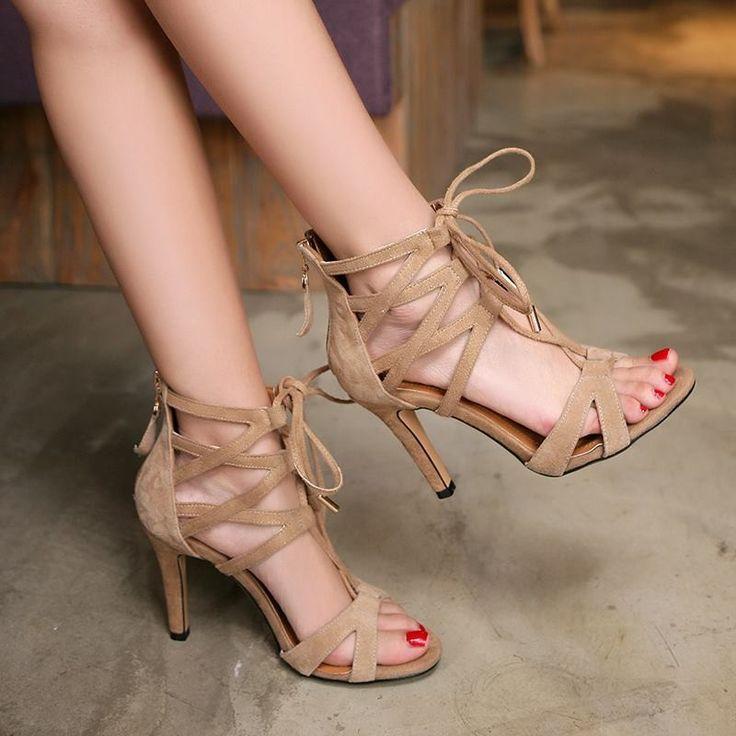 Vera pelle di pecora donne sandali estate nubuck suede gladiatore sandali degli alti talloni di estate scarpe donna in  stivali donna pompe sandali appartamentiin vera pelle&da Sandali delle donne su AliExpress.com | Gruppo Alibaba