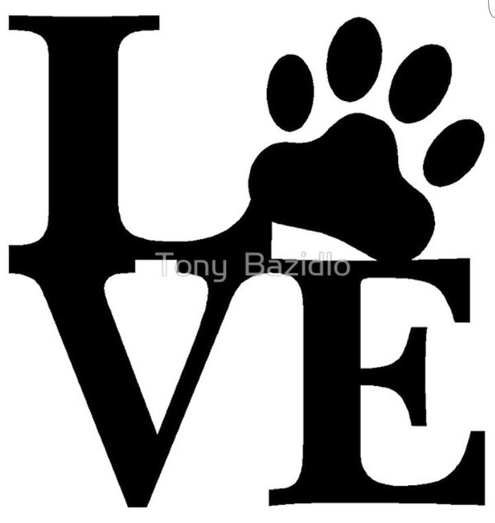 Paw print love outline