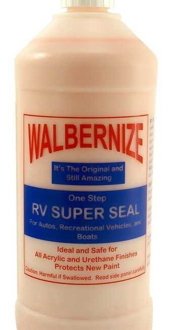 Walbernize RV Super Seal is an original formula containing a combination of cleaning, polishing, and glaxing ingredients. Safe for all types of finishes. RV Super Seal provides easy cleaning and polishing actions while quickly removing traffic film and spots of road oil or tar. Long lasting and detergent resistant, can be used on chrome and glass.